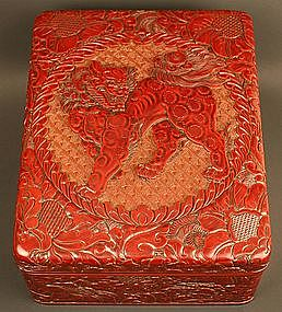 Superb Red Lacquered Box by Kasen, Shishi and Peonies