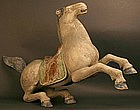 Large Exquisite Shrine Sculpture of a Horse in Action