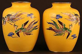 Beautiful Pair of Japanese Cloisonne Phoenix Vases