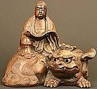 Kannon and Shishi Edo Period Bizen Ceramic Sculpture