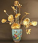 Japanese Gold Lacquered Lotus Flowers, early 19th C.