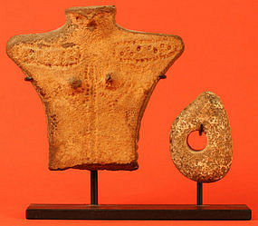 Jomon Period Human Figure with Bird Head and Disc