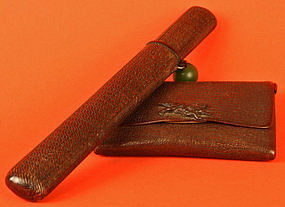 Edo Period Japanese Tobacco Pouch, Pipe, and Pipe Case