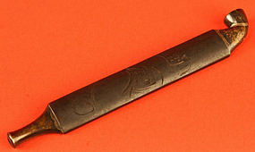 Edo Period Lead and Silver Tobacco Pipe with Darumas