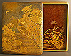 Edo Gold Lacquered Box with Peacocks and Butterflies