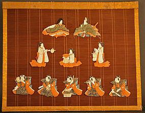 Very Rare Hina Kazari, Wall Decoration of Silk Dolls