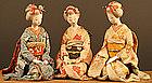 Unique Set of Three Japanese Dolls, Beautiful Girls