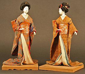 Pair of Elegant 19th Century Japanese Geisha Dolls