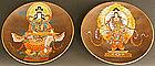Very Rare Pair Goddess Plates by Satsuma Master Ryozan
