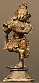 Indian Antique Bronze Krishna Fluting Sculpture