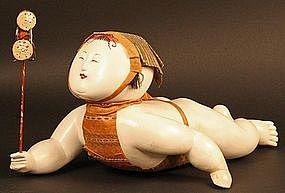 Rare 18th Century Japanese Crawling Baby Palace Doll