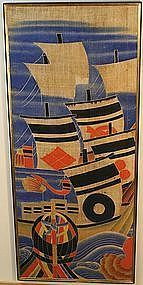 Antique Linen Banner Commemorating the Kawanakajima War
