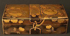 Fine Edo Period Japanese Floral Lacquer Box