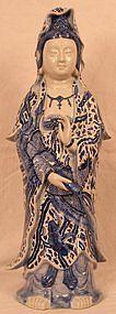 Large Kutani Porcelain Sculpture of Goddess of Mercy