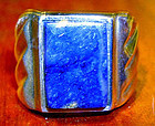 Fine Sterling Silver Lapis Man�s Ring MEXICO