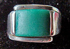Vintage Sterling Taxco Green Man's Ring MEXICO Hallmarks