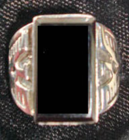 Onyx Thunderbird Ring Sterling Silver Great Detail