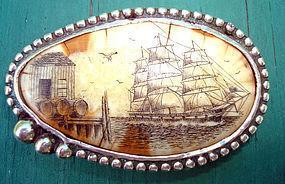 Sterling Scimshaw Clipper Ship Belt Buckle Signed