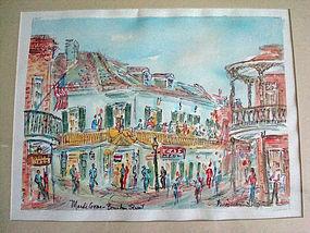 Original Signed Water Color New Orleans Mardi Gras