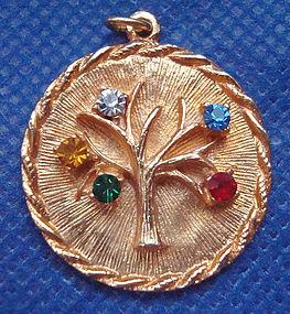 Pendant Tree of Life Colorful Rhinestones c. 1970s