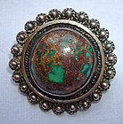 Vintage Sterling Pin with Vibrant Turquoise Stone