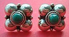Sterling Taxco Mexico Green Stone Earrings Hallmarked