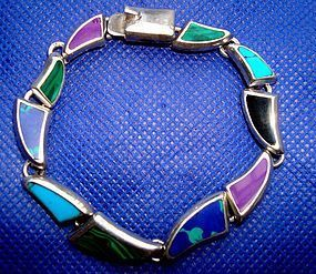 Colorful Sterling Bracelet Many Different Stones MEXICO