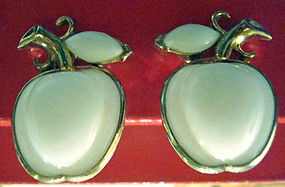 Vintage Trifari Milk Glass Apple Earrings Marked