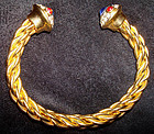 Gorgeous Cuff Bracelet Bedecked with Jewels Gold Tone