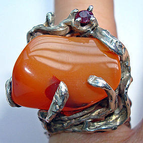 Funky Mod Sterling Ring Orange Stone Marked