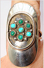 Navajo Silver Turquoise and Green Turquoise Ring