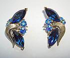 Blue Crystal Earrings in Silvertone Signed LISNER