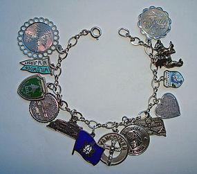 Vintage Sterling  Silver Charm Bracelet  - 13 Charms