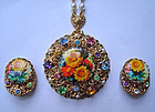 Floral Necklace Pendant and Earrings West Germany