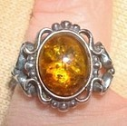 Vintage Decorative Ring Confetti Stone Amber Signed