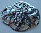 Arts and Crafts Sterling Grapevine Foliate Brooch