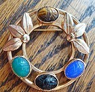 Lovely Scarab Brooch Colorful Stones Maker's Mark