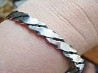 Sterling Bangle Bracelet With Geo Diagonal Design