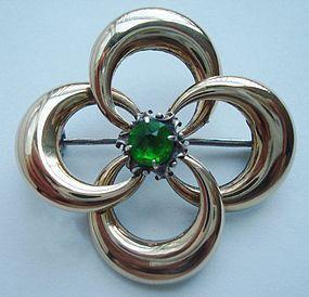 Vintage Sterling 14K Gold Emerald Brooch Maker's Mark