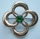 Vintage Sterling 14K Gold Emerald Brooch Maker's Mark