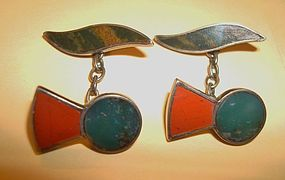 Fine Agate Silver Cuff Links All Hallmarks 1929 Signed