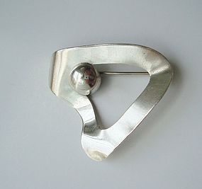Vintage Mod Sterling Silver Brooch Marked DANEMARK