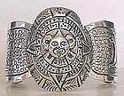 Signed Maciel Sterling Mexico Aztec Cuff Bracelet
