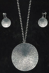 Signed Jorgen Jensen Pendant Chain Earrings Set DENMARK