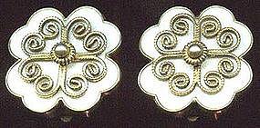 Ivar T. Holt Sterling Enamel Earrings NORWAY