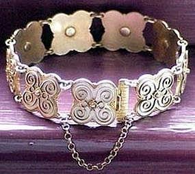 Norway Sterling Vermeil Enamel Signed Bracelet