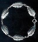 Lovely Leafy Link Bracelet Sterling Signed c. 1940's