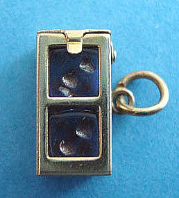 Vintage 14K Dice Box Charm with 2 Dice Opens Moves