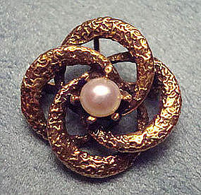 Vintage 14K Gold & Pearl Signed Swirl Brooch Pendant