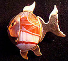 Signed Carved Colorful Agate Fish Pin Booch Gold Filled